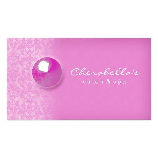 Pink Damask Button Salon Spa business card