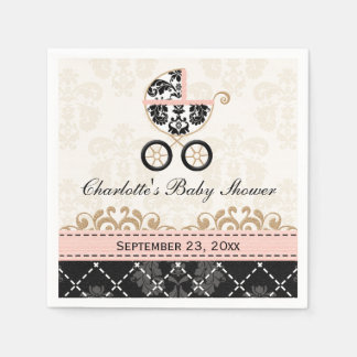 Pink Damask Carriage Baby Shower Paper Serviettes