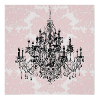 Pink Damask Chandelier Wall Art Print