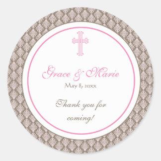 Pink Damask Cross Address Label Favor Sticker
