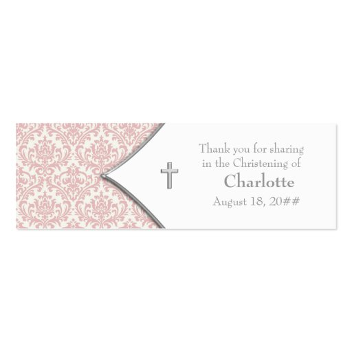 Pink Damask Cross Bomboniere Tags Business Card Template