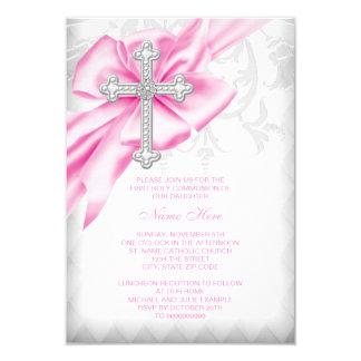 Pink Damask Cross First Communion 9 Cm X 13 Cm Invitation Card