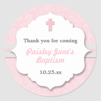 Pink Damask cross girl baptism christening favor Round Sticker