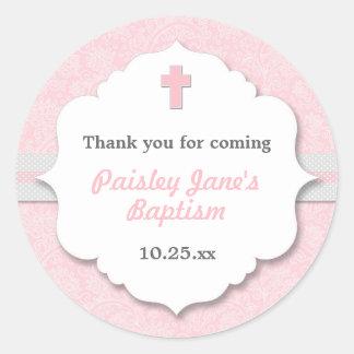 Pink Damask cross girl baptism christening favor Round Sticker