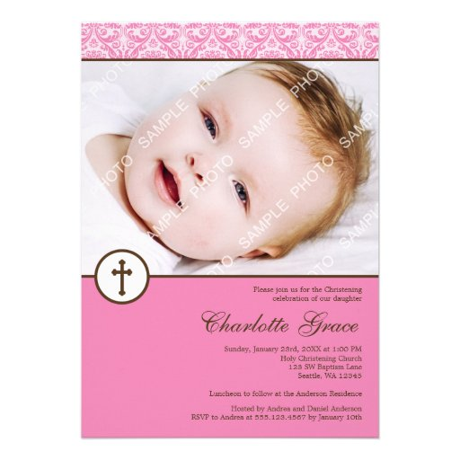 Pink Damask Cross Girl Photo Baptism Christening Invitations
