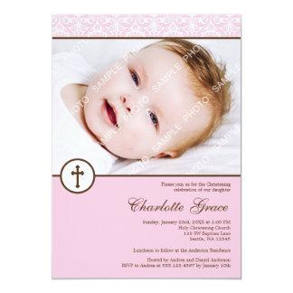 "Pink Damask Cross Girl Photo Baptism Christening 5"" X 7"" Invitation Card"