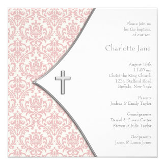 Pink Damask Cross Girls Baptism Christening 13 Cm X 13 Cm Square Invitation Card
