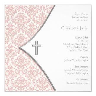 Pink Damask Cross Girls Baptism Christening Card