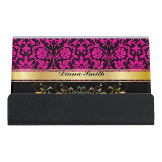 Pink Damask Desk Business Card Holder