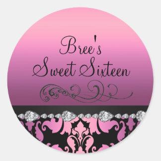 Pink Damask & Diamond Sweet 16 Sticker
