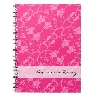 Pink Damask Diary Notebook