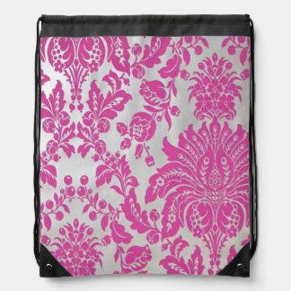 Pink Damask Drawstring Backpack