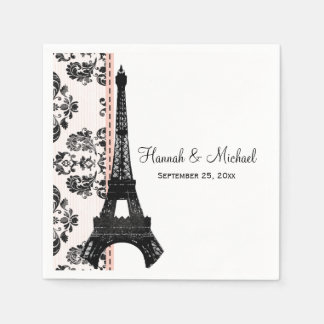 Pink Damask Eiffel Tower Wedding Disposable Serviette