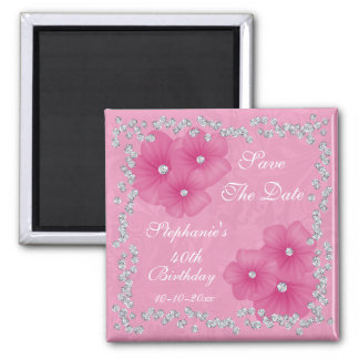 Pink Damask & Flowers 40th Birthday Square Magnet