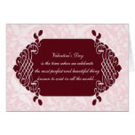 Pink Damask Funny Anti-Valentine's Card