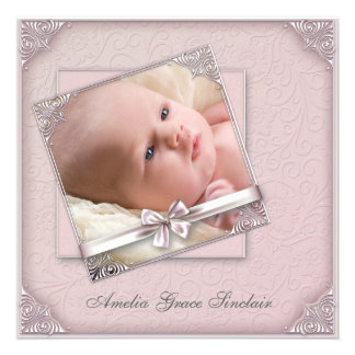 Pink Damask Girl Photo Birth Announcement