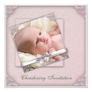 Pink Damask Girls Photo Christening Card