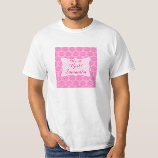 Pink Damask It's A Girl Name Personalized Dad's Tee Shirt
