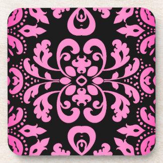 Pink damask kaleidoscope coaster