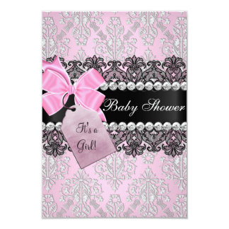 Pink Damask & Lace Girl Baby Shower Invitation