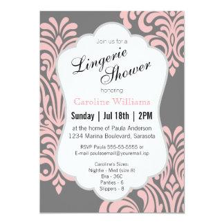 Pink Damask Lingerie Shower 13 Cm X 18 Cm Invitation Card