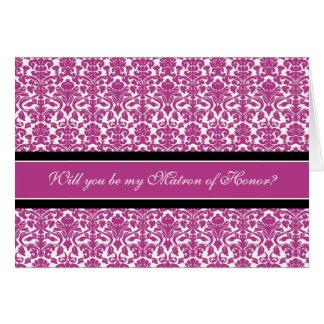 Pink Damask Matron of Honor Invitation Greeting Card