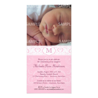 Pink Damask Monogram Baptism/Christening Personalized Photo Card