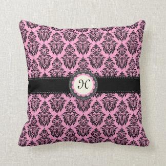 Pink damask monogram initial custom pillow case