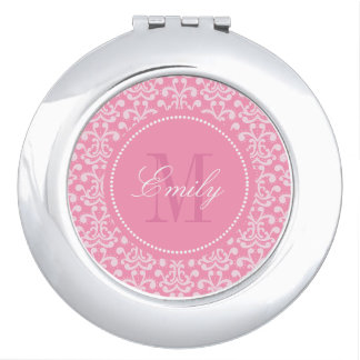 Pink Damask Monogram Personalized Compact Mirror