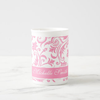Pink Damask Monogram Tea Cup