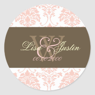 Pink Damask monogram wedding stickers