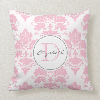 Pink Damask Monogrammed Pillow