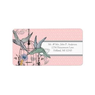 Pink Damask Musical Humming Bird Cage Label