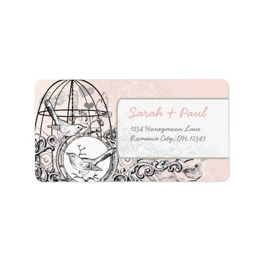 Pink Damask Musical Vintage Bird Cage Address Address Label
