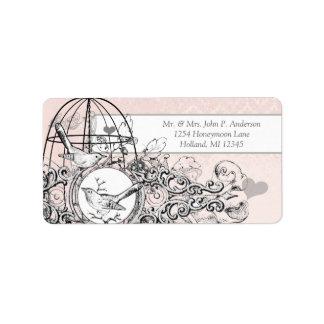Pink Damask Musical Vintage Bird Cage Label