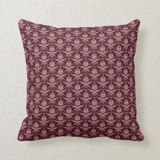 Pink Damask on Chocolate Brown Throw Pillow Throw Cushions