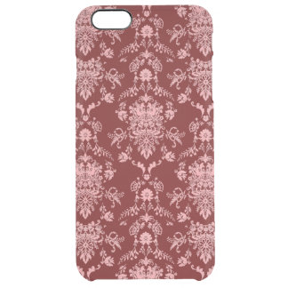 Pink Damask on Dark Red Clear iPhone 6 Plus Case