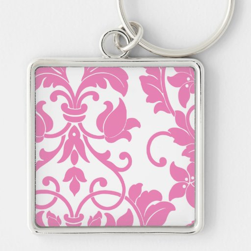 Pink Damask on White Silver-Colored Square Key Ring
