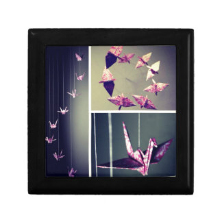 Pink damask origami crane spiral mobile small square gift box
