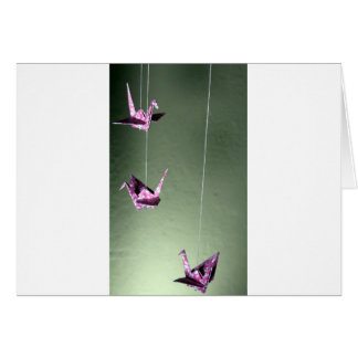 Pink Damask Origami Spiral Mobile Greeting Cards