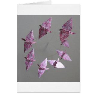 Pink Damask Origami Spiral Mobile Card