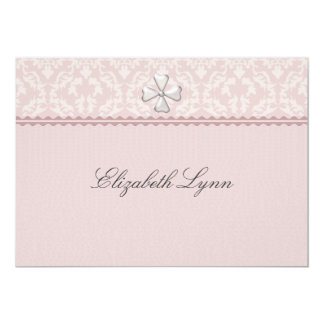 Pink Damask Overlay Religious Invitation