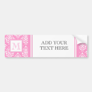 Pink Damask Pattern 1 with Monogram Bumper Stickers