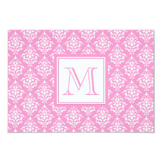 "Pink Damask Pattern 1 with Monogram 3.5"" X 5"" Invitation Card"