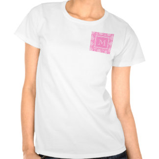 Pink Damask Pattern 1 with Monogram Tee Shirts
