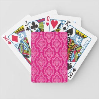Pink Damask Pattern Print Bicycle Playing Cards