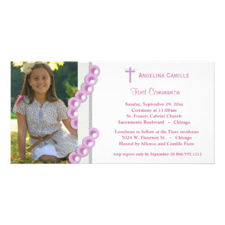 Pink Damask Pearls First Communion Photo Invite Personalised Photo Card