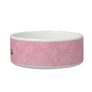 Pink Damask Personalized Pet Bowl