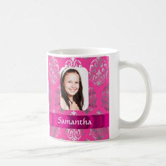 Pink damask personalized photo template basic white mug