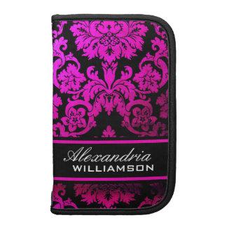 Pink Damask Personalized Smartphone Rickshaw Folio Planner